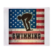 Grunge USA Swimming Throw Blanket