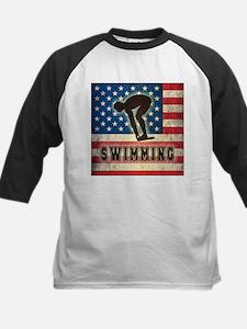 Grunge USA Swimming Kids Baseball Jersey