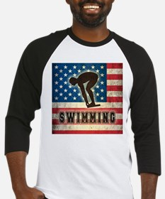 Grunge USA Swimming Baseball Jersey