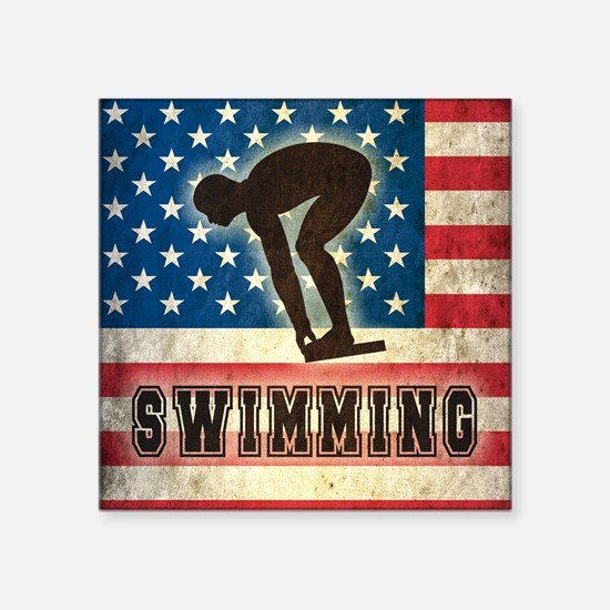 "Grunge USA Swimming Square Sticker 3"" x 3"""