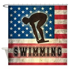 Grunge USA Swimming Shower Curtain