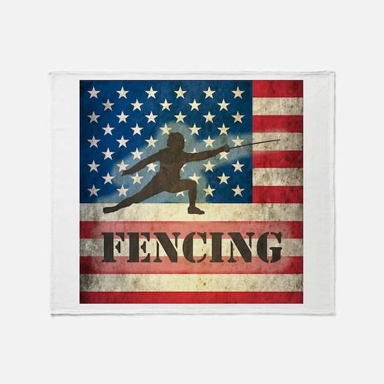 Grunge USA Fencing Throw Blanket