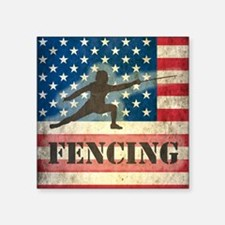 "Grunge USA Fencing Square Sticker 3"" x 3"""