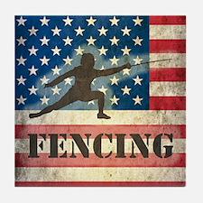 Grunge USA Fencing Tile Coaster