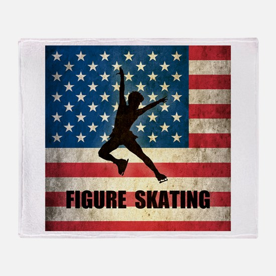 Grunge USA Figure Skating Throw Blanket