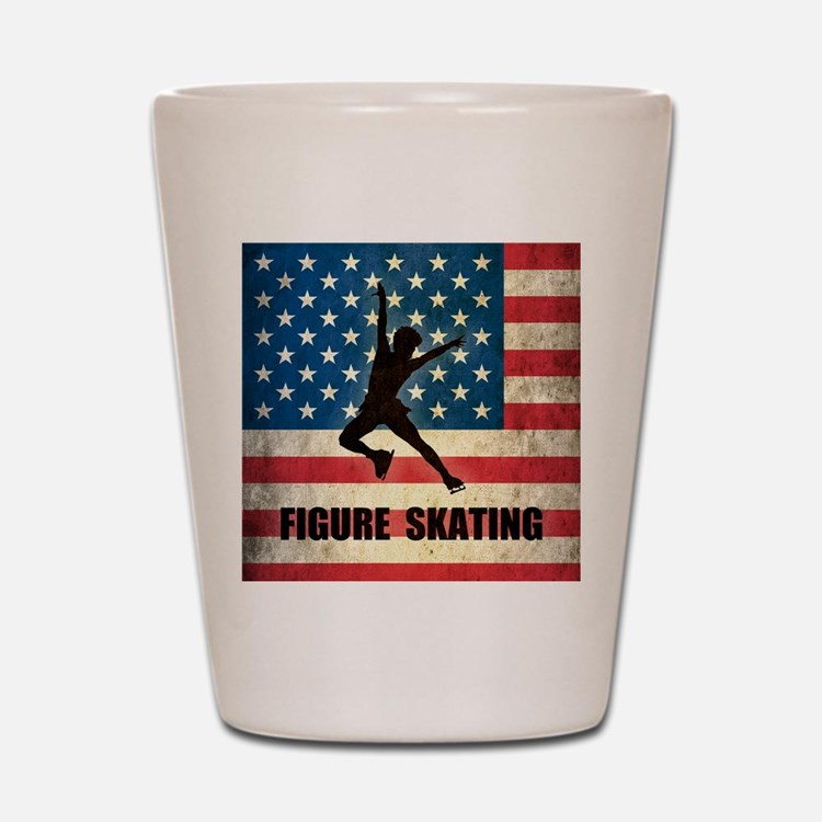 Grunge USA Figure Skating Shot Glass