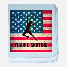 Grunge USA Figure Skating baby blanket