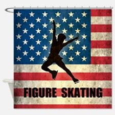 Grunge USA Figure Skating Shower Curtain