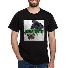 PUGAHOLIC Black  Fawn Pug Painting T-Shirt