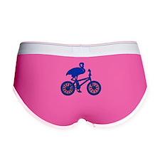 Blue Flamingo on Bicycle Mosaic Women's Boy Brief