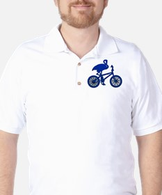 Blue Flamingo on Bicycle Mosaic Golf Shirt