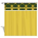 Green and Yellow Kaleidoscope Shower Curtain