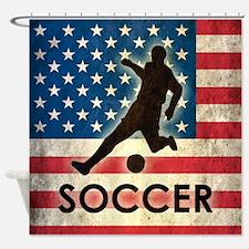 Grunge USA Soccer Shower Curtain