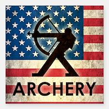 "Grunge USA Archery Square Car Magnet 3"" x 3"""