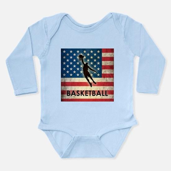 Grunge USA Basketball Long Sleeve Infant Bodysuit