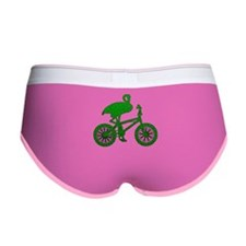 Green Flamingo on Bicycle Mosaic Women's Boy Brief