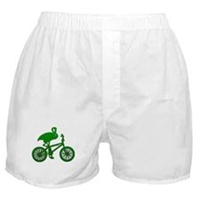 Green Flamingo on Bicycle Mosaic Boxer Shorts