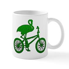 Green Flamingo on Bicycle Mosaic Mug