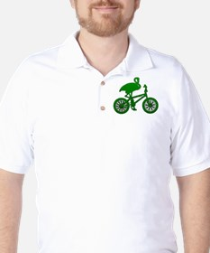 Green Flamingo on Bicycle Mosaic Golf Shirt