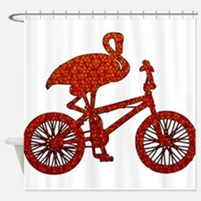 Red Flamingo on Bicycle Mosaic Shower Curtain