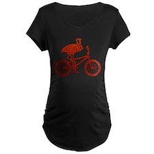 Red Flamingo on Bicycle Mosaic T-Shirt