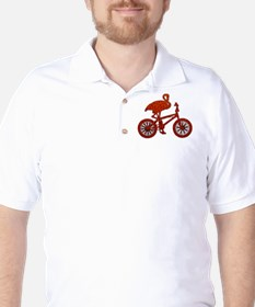 Red Flamingo on Bicycle Mosaic Golf Shirt