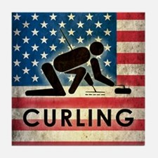 Grunge USA Curling Tile Coaster