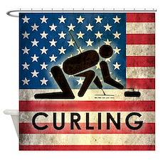Grunge USA Curling Shower Curtain