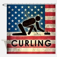 Grunge USA Curling Shower Curtain