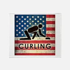 Grunge USA Curling Throw Blanket