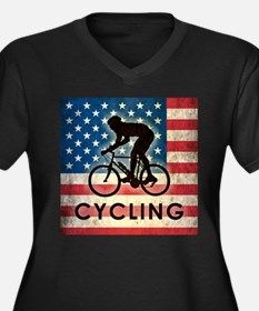 Grunge USA Cycling Women's Plus Size V-Neck Dark T