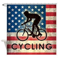 Grunge USA Cycling Shower Curtain