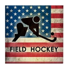 Grunge USA Field Hockey Tile Coaster