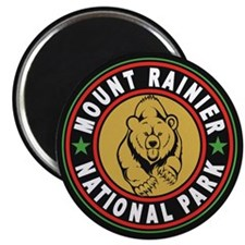 Mt Rainier Black Circle Magnet