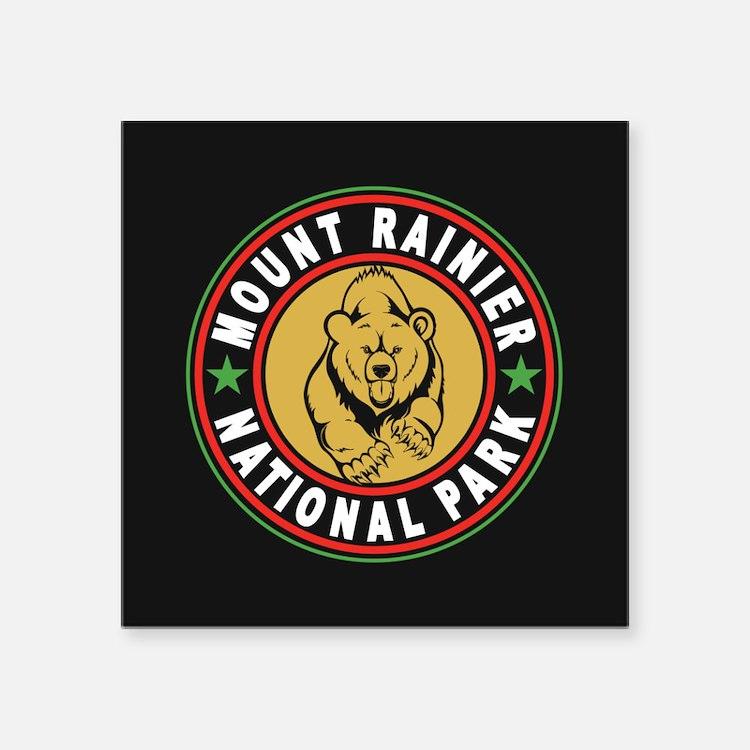 "Mt Rainier Black Circle Square Sticker 3"" x 3"""