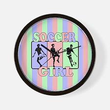 cute soccer girl female players Wall Clock