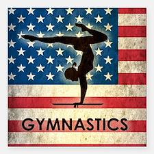 """Grunge USA Gymnastics Square Car Magnet 3"""" x 3"""""""