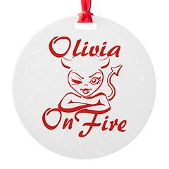 Olivia On Fire Ornament