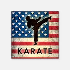 "Grunge USA Karate Square Sticker 3"" x 3"""