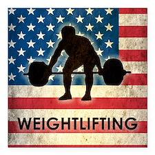 "Grunge USA Weightlifting Square Car Magnet 3"" x 3"""