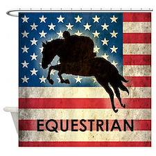 Grunge USA Equestrian Shower Curtain