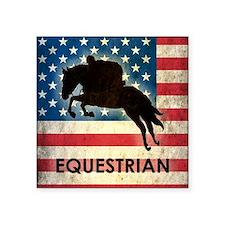 "Grunge USA Equestrian Square Sticker 3"" x 3"""