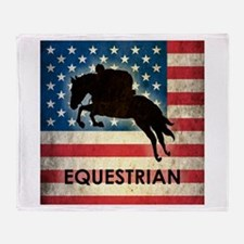 Grunge USA Equestrian Throw Blanket