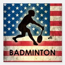 "Grunge USA Badminton Square Car Magnet 3"" x 3"""