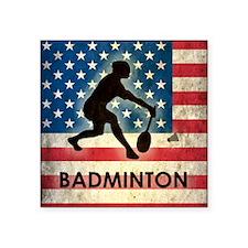 "Grunge USA Badminton Square Sticker 3"" x 3"""