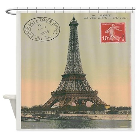 Vintage Paris Eiffel Tower Postcard Shower Curtain By