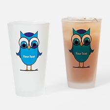 Custom Blue Owl Branch Drinking Glass