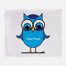 Custom Blue Owl Branch Throw Blanket