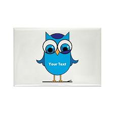 Custom Blue Owl Branch Rectangle Magnet