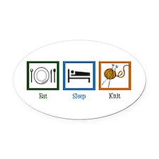 Eat Sleep Knit Oval Car Magnet